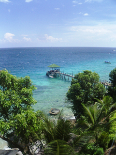 心細いパヌーバの桟橋・・小型船以外着岸不可